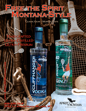 Flier for 40 Love Gin and Cliffhanger Vodka by Spirit of Montana Distilling
